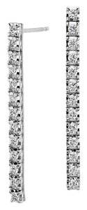 Avi and Co 1.00 cttw Round Brilliant Cut Diamond Line Earrings 14K White Gold