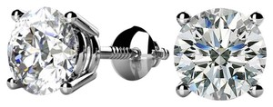 Avi and Co 1.00 cttw Round Brilliant Diamond Screw Back Stud Earrings F-G/VS 14K White Gold