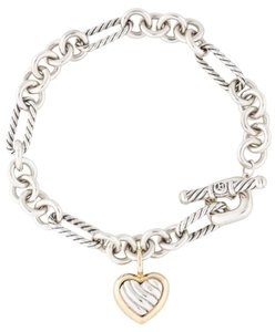 David Yurman Sterling silver 18K gold David Yurman figaro heart charm bracelet