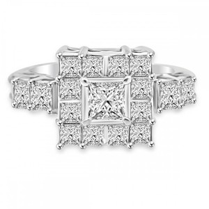 Avi and Co 2.50 cttw Ladies Princess Cut Diamond Square Fashion Ring 14K White Gold