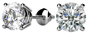 Avi and Co 1.25 cttw Round Brilliant Diamond Screw Back Stud Earrings H-I/SI 14K White Gold