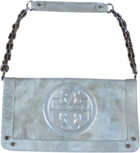 Tory Burch Silver Leather Suki Reva Clutch Shoulder Bag