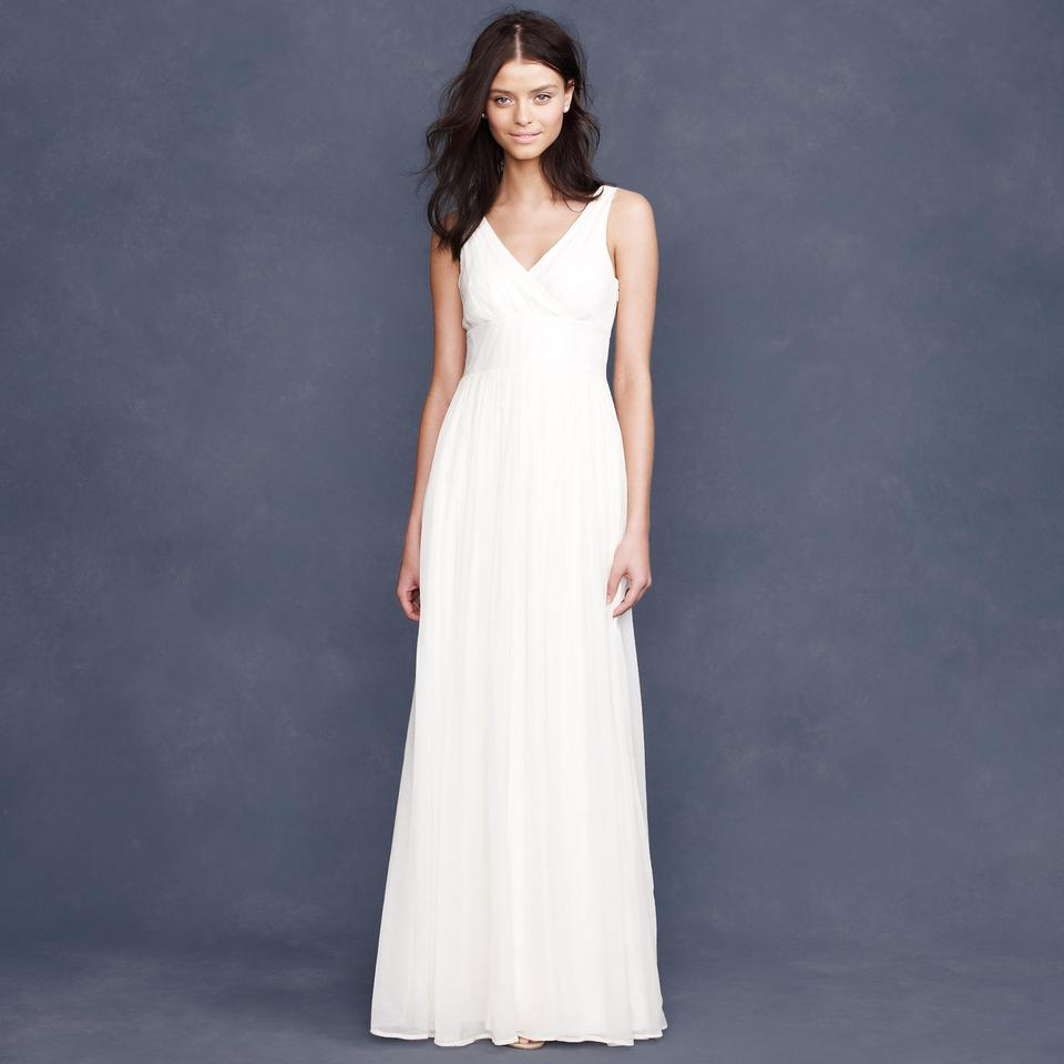 J.Crew Ivory Silk Chiffon Sophia Wedding Dress Size 2 (XS) - Tradesy