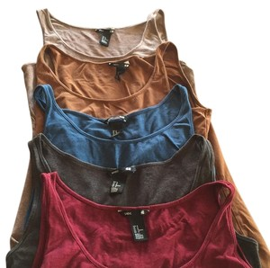 H&M Top Tan gold grey maroon blue