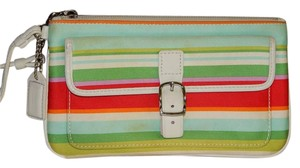 Coach Leather Wristlet in Multi Color Stripe