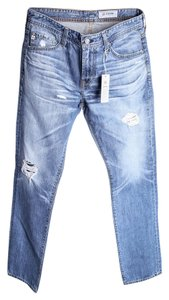 AG Adriano Goldschmied Mens Light Wash Straight Leg Jeans-Light Wash
