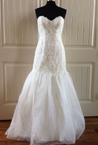 Maggie Sottero Ivory Lace and Organza Pauline Marie Feminine Wedding Dress Size 12 (L)