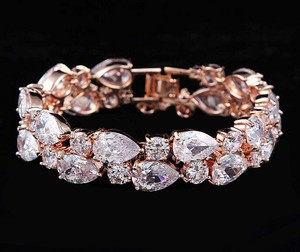 Bridal Rose Gold Cz Bracelet