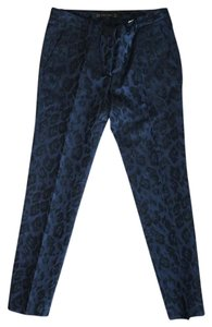 Zara Elegant Leopard Chic Straight Pants Dark Blue and Black