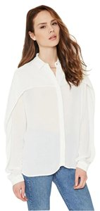 Forever 21 Crepe Shirt White Shirt Button Down Shirt Ivory