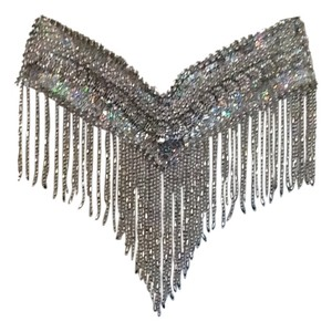 Belly DancerSilver Iridescence Beautiful Wrap Belt with Velco Fastener