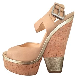 Giuseppe Zanotti Gold Cork Wedge Heel Nude Sandals
