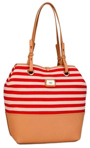 UGG Boots Tote in Red and Off White Stripes with Tan Trim