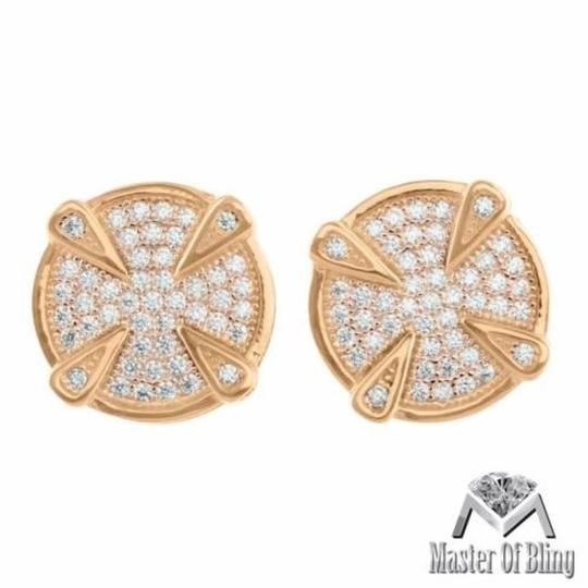 Other Mens Round Earrings Rose Gold Finish Screw On Micro Pave Designer 925 Silver Hot Image 1