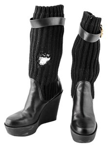Gucci Wedge Knit Leather black Boots