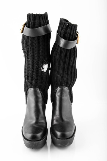 Gucci Wedge Knit Leather Black Boots Image 1