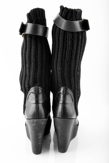 Gucci Wedge Knit Leather Black Boots Image 2