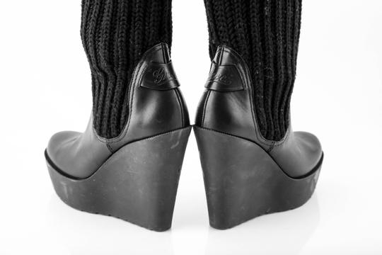 Gucci Wedge Knit Leather Black Boots Image 4