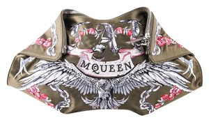 Alexander McQueen Embroidered Zip Closure forest green Clutch