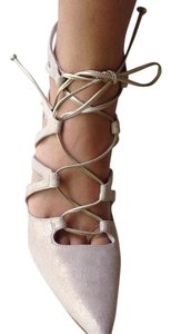 Stuart Weitzman Lace Up Gold Gold cream Pumps