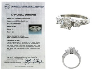 Exquisite 1.76ctw G I1 Princess Cut Diamond Platinum Three-Stone Engagement Ring