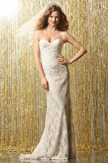 Item - Ivory / Topaz Lace Watters & Watters Gown 11525 Sisi Ivory/Topaz Sexy Wedding Dress Size 14 (L)
