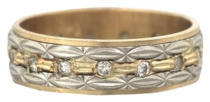 Other Elegant Ladies Antique Etched 14K Two-Tone Gold Diamond Wedding Band Ring
