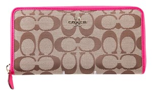Coach * Coach 12CM Signature Accordion Zip Wallet Pink/Khaki