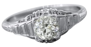 Antique Art Deco 0.71ct Old European Diamond 18K White Gold Engagement Ring