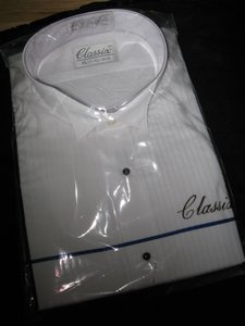 Classix White Pleated Tuxedo Wing Neck S 14 14 1/2 - Arm 36/37 Shirt
