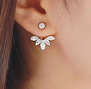 Silver and rhinestones Ear jacket, Flower ear jacket stud earrings, 2016 jewelry trend