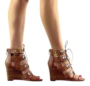 Fergie Studded Lace Up Brown Wedges