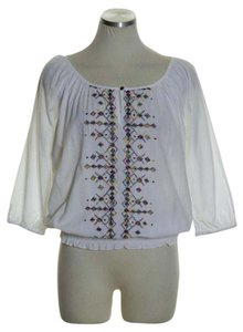 Lord & Taylor Raglan Peasant Embroidered Top White