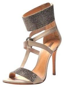 SCHUTZ Night Out Date Night Strappy Sandal Crystals Soft Taupe Formal