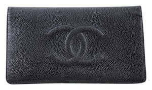 Chanel * CHANEL Chanel CC Black Caviar Leather Bi-Fold Wallet