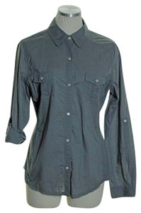Old Navy Knit Side Panel Long Sleeve Button Down Shirt Gray