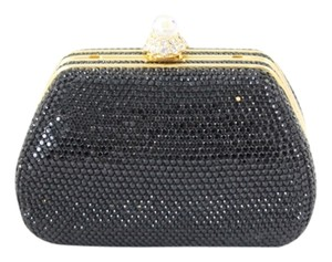 Judith Leiber Crystal Sequin Black Clutch