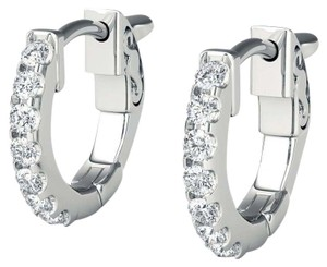 Avi and Co 1.00 cttw Round Brilliant Cut Diamond Huggy Locking Post Earrings 14K White Gold