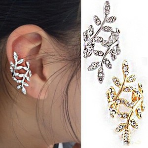 Gold and rhinestones leaf leaves Ear cuff, ear wrap, ear pin, ear sweep earrings, No pierced ears 2016 jewelry trend