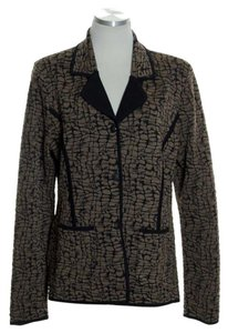 Misook Croc Print Long Sleeve Knit Brown Jacket