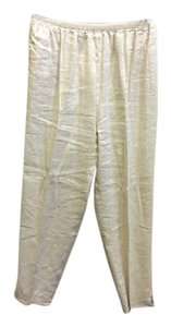 Shamask Pockets Size 2 Metalic Straight Pants Cream
