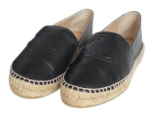 Chanel Leather Espadrilles Black Flats