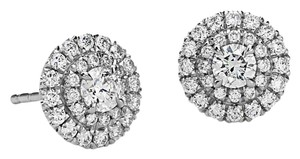 Avi and Co 1.00 cttw Round Cut Diamond Double Halo Stud Earrings F-G/VS-SI 14K White Gold