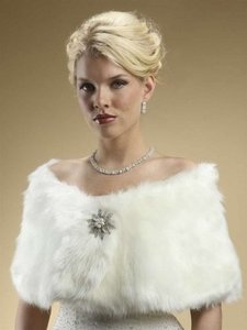 Mariell Ivory Faux Fox Wedding Fur