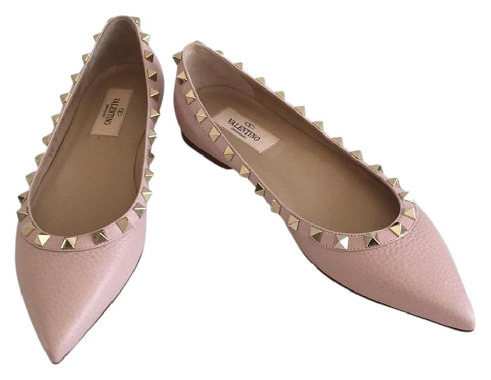 12b2687a62291 Valentino Water Rose (Pale Pink) Rockstud Textured Leather Ballerina Flats.  Size  US 5.5 ...