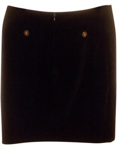 Chanel Pencil Velvet Skirt Black