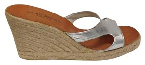 Andre Assous Leather Metallic Summer Silver Wedges