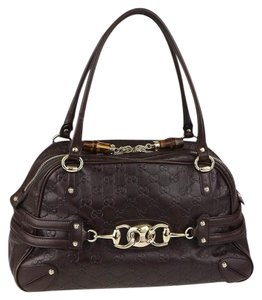 Gucci Leather Monogram Bamboo Satchel in Brown Guccissima with Metal Horsebit and Wave Hardware