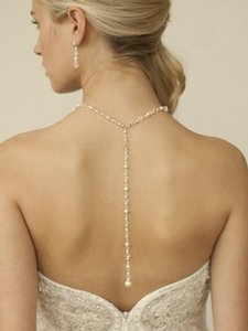 Mariell 4082n-w-cr-s Top Selling Crystal & Pearl Back Necklace For Weddings & Proms