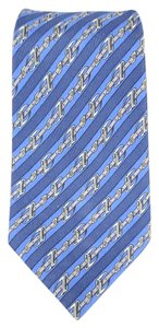 Hermès HERMES Navy & Blue Striped Belt Print Silk Tie